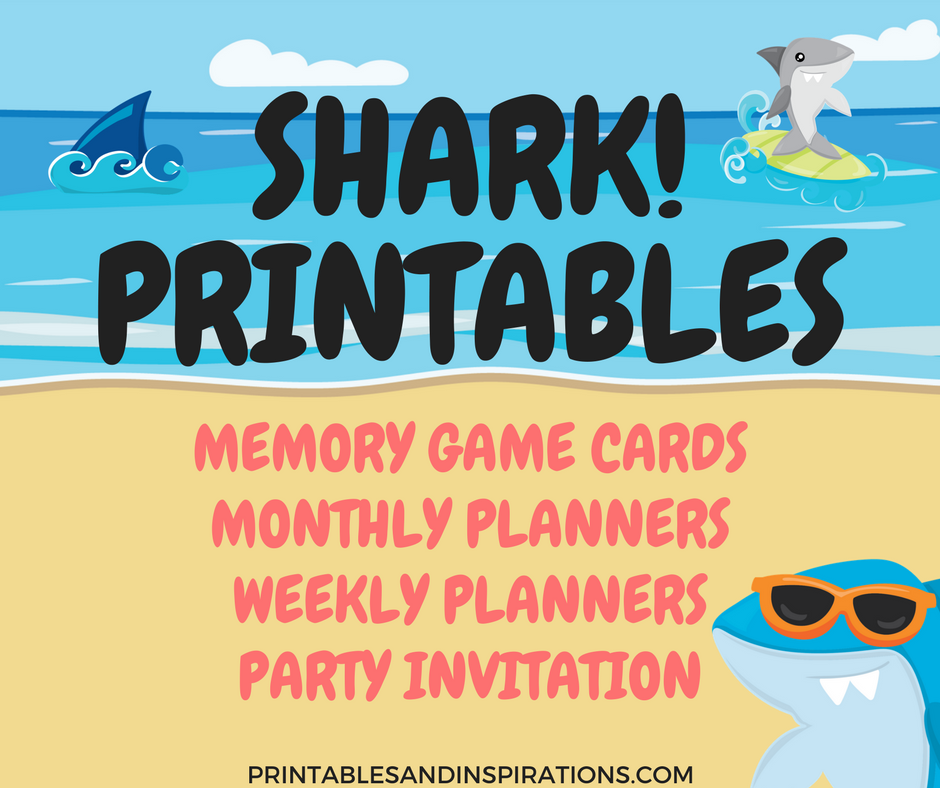 Shark Printables Free Planners Game Cards And Invitation – Shark Invitations Birthday Party