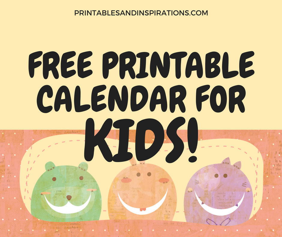 2018 free printable calendar for kids - Free Printable Art For Kids