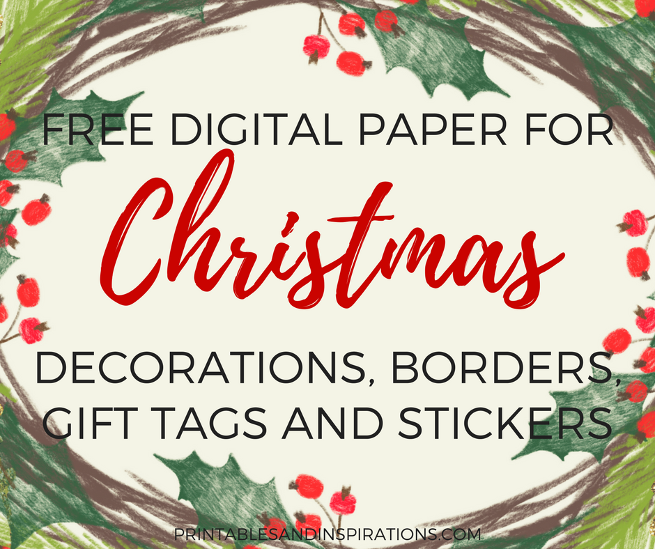 Free Digital Paper For Christmas Decorations Gift Tags Stickers Labels Border Design
