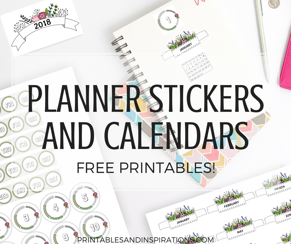 Free printable planner stickers and calendars for 2018 free planner printables monthly calendars for