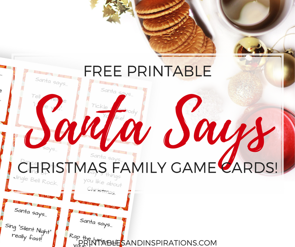 free printable Christmas activity cards, Santa Says game cards, Christmas game for family bonding, Christmas free printables