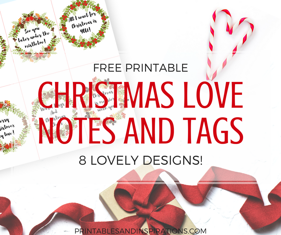 Christmas gift tags and love notes for Christmas, free printable Christmas gift tags, Christmas wreath designs