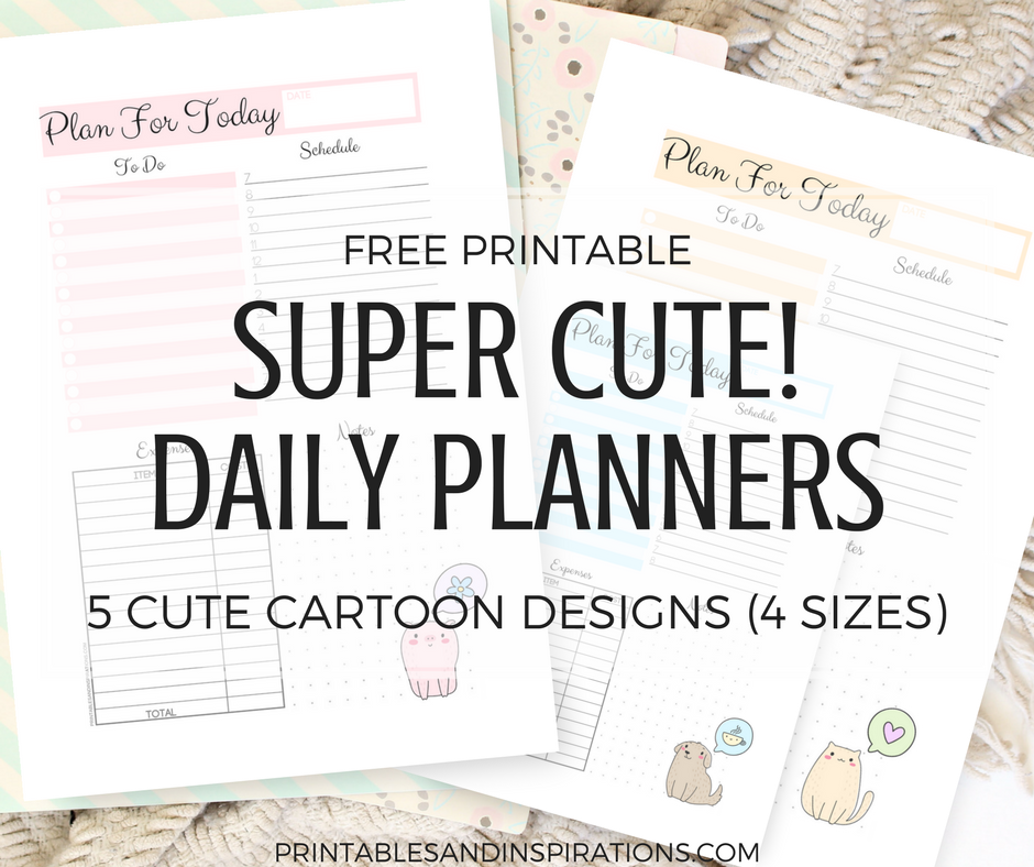 free printable cute daily planners, daily planner printable for ring binder, half size daily planner, A5 planner, bullet journal