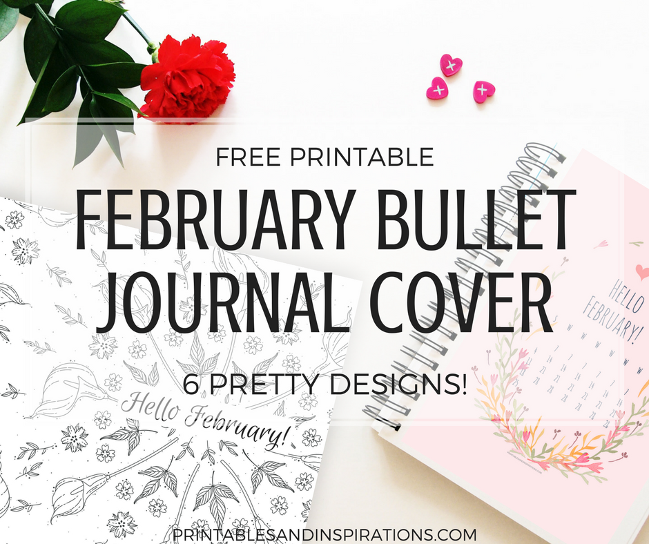 free printable February bullet journal cover page, bullet journal ideas, printable planner, February calendar