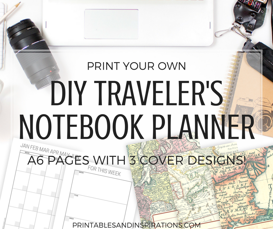 DIY travelers notebook free printable planner pages, monthly spread, weekly spread, mini datebook, free monthly planner, printable calendar, Monday start