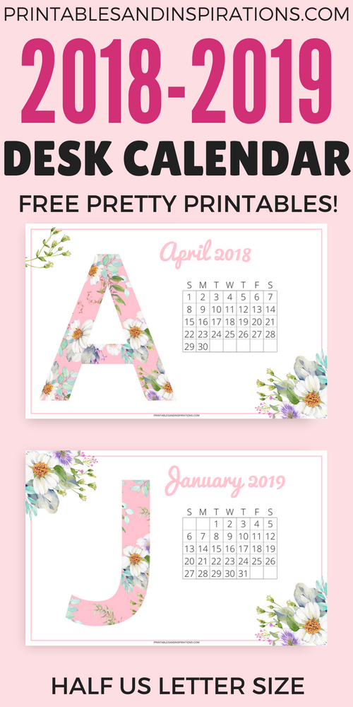 Pretty Desk Calendar 2018 And 2019 - Free Printables