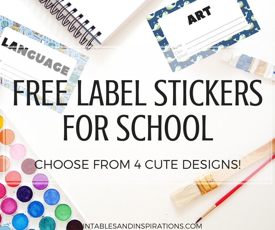 School Book Cover Stickers : Free cute label stickers for school with blank templates