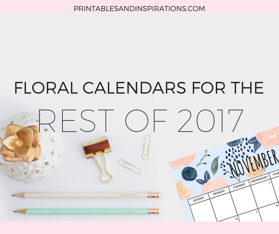 Free floral calendar, free printables, weekly planner