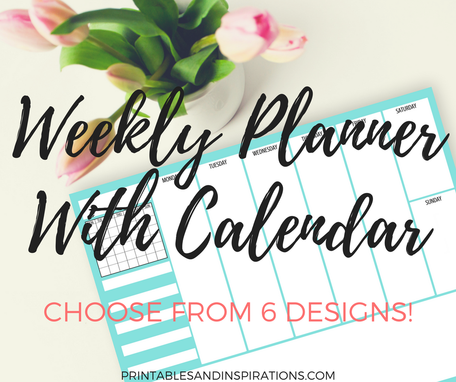 free printable weekly planner with monthly calendar, blank planner, weekly spread for daily plan