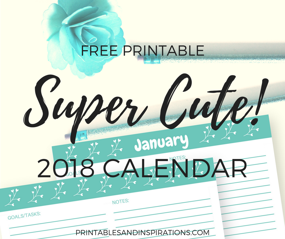 Free Printable 2018 Cute Calendar In Cyan Printables And Inspirations