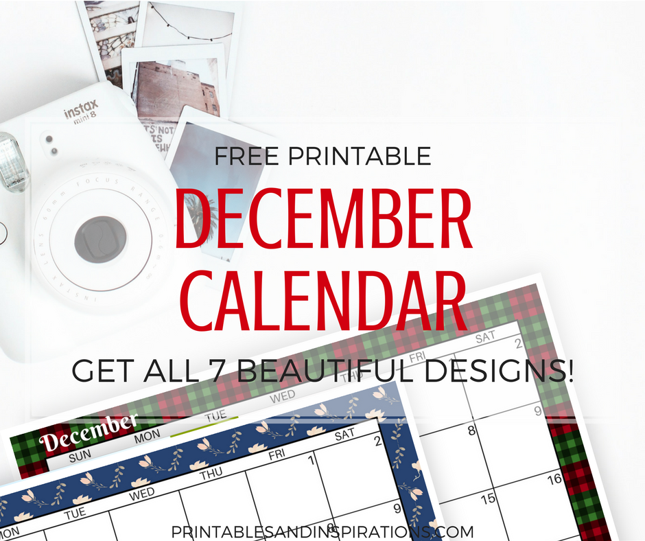 free printable December calendar 2017 | December planner | monthly spread