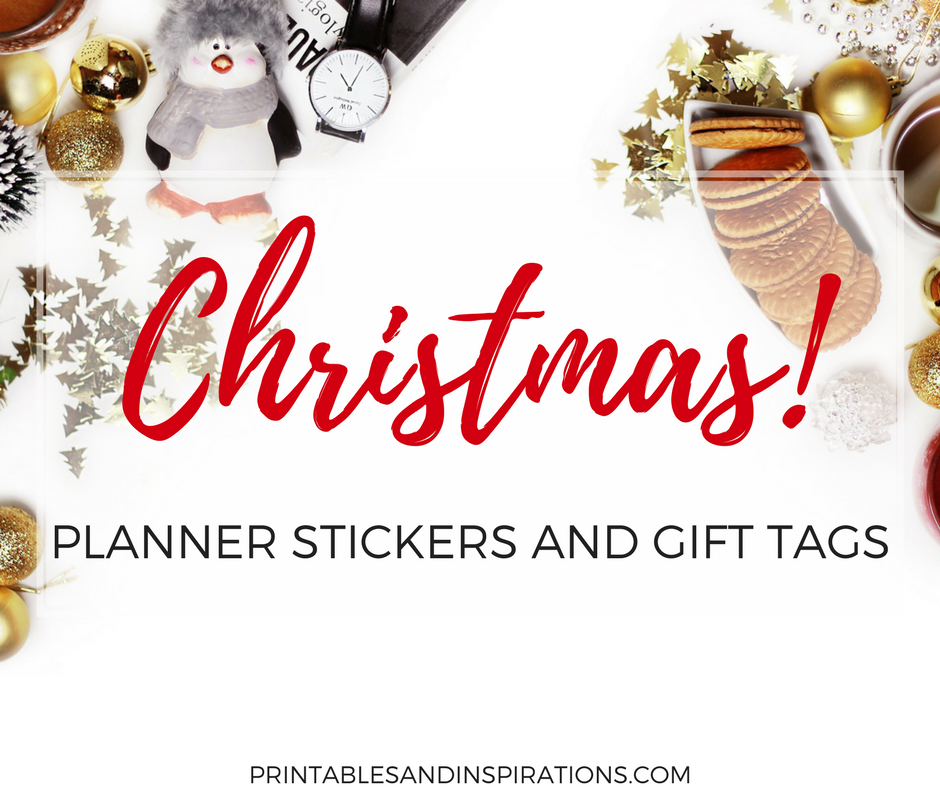 Free Printable Christmas planner stickers | planner printables | Christmas gift tags