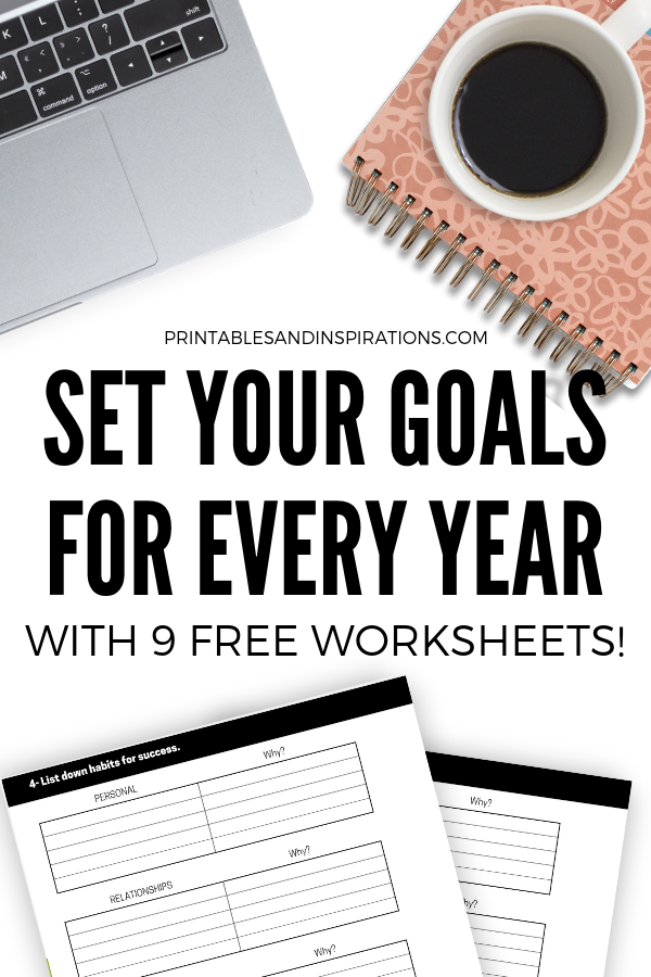 Free Goal Setting Worksheets! With life goals planner, monthly planner, future log, and habits for success. #printablesandinspirations #freeprintable