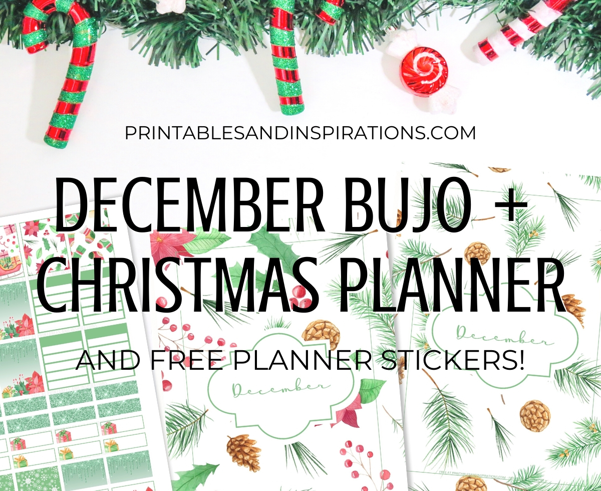December Christmas bullet journal printable - Christmas planner with Christmas trees, evergreen, free printable planner for December #freeprintable #printablesandinspirations #Christmas #bulletjournal #planneraddict #bujoideas