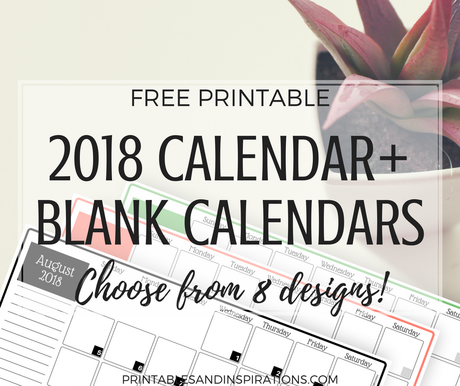 Free Printable Blank Calendars 2018 Calendar Printables And