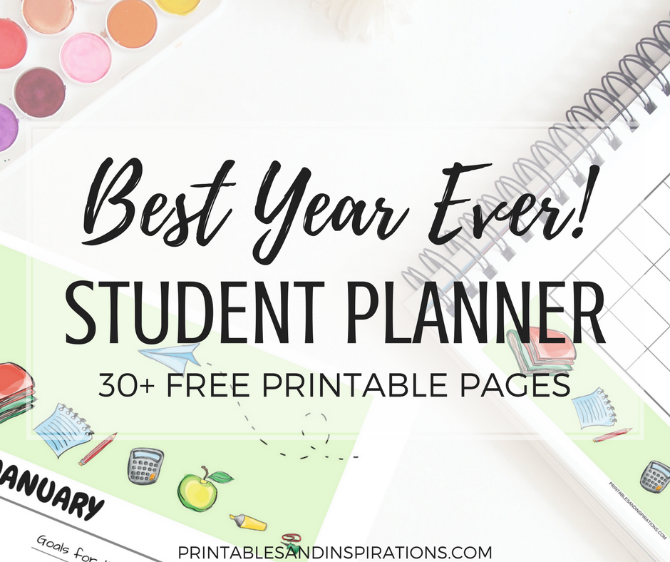 Free student planner and printable 2018 calendar for kids free.