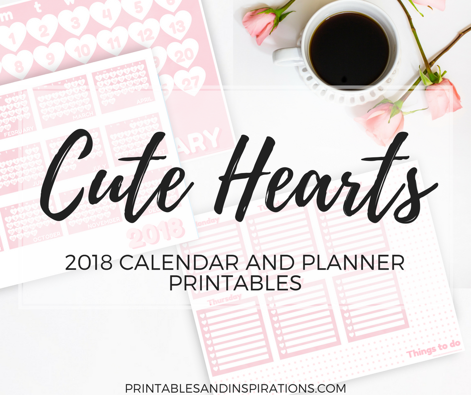 graphic regarding Cute Weekly Planner Printable identify Cost-free Printable Lovely 2018 Hearts Calendar And Regular Planner
