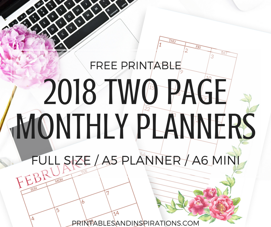 Super Pretty Two Page Monthly Planner 2018 Free Printables