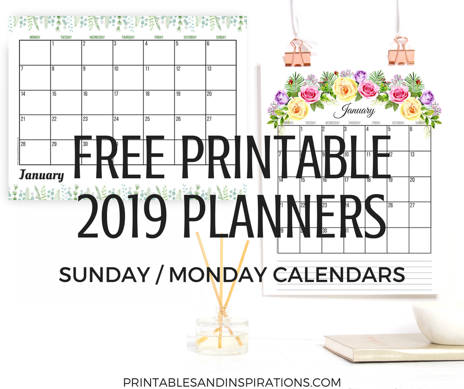 photograph relating to Free Printable Planners known as Absolutely free 2019 Planner Printable PDF With Sunday And Monday