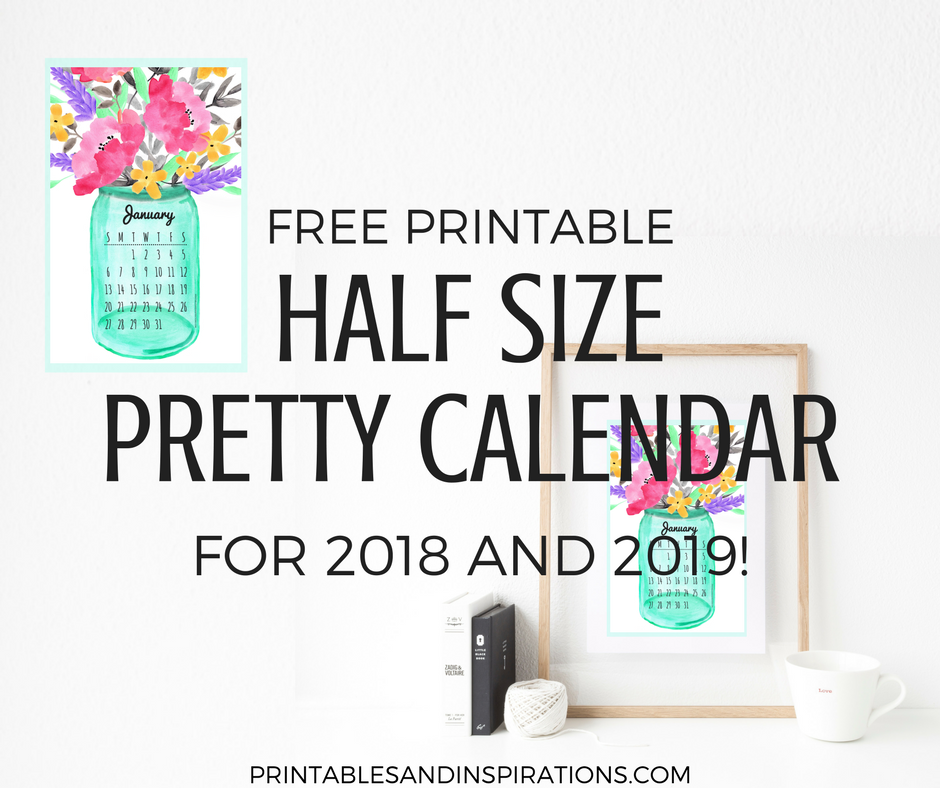 Free Printable Half Size Calendar 2018 And 2019