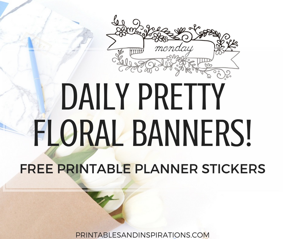 Daily floral banners, daily planner stickers, weekly planner stickers, printable stickers, days of the week stickers, free planner stickers printable, diy planner stickers