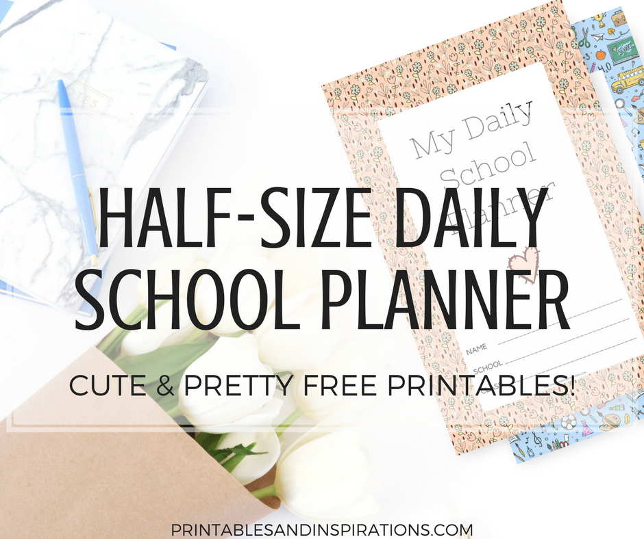 half size daily school planner daily planner for students daily planner for kids