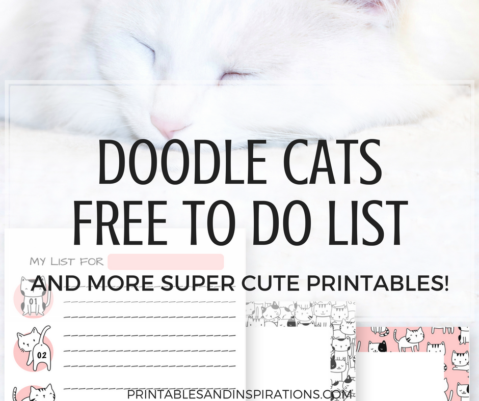Doodle cats, free printable to do list, weekly to do list printable, cute cats planner printables, printable planner stickers with cat design