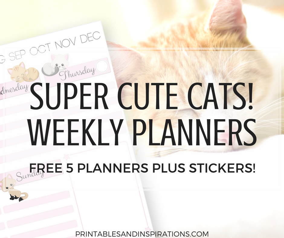photo about Printable Cats called Free of charge Printable Lovely Cats Weekly Planner And Cats Planner