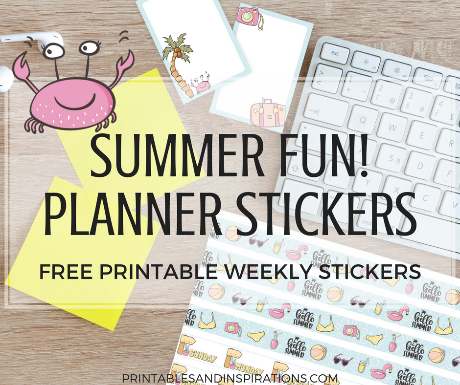 picture regarding Printable Stickers Free called No cost Lovely Summertime Stickers For Planner Or Sbooking Entertaining