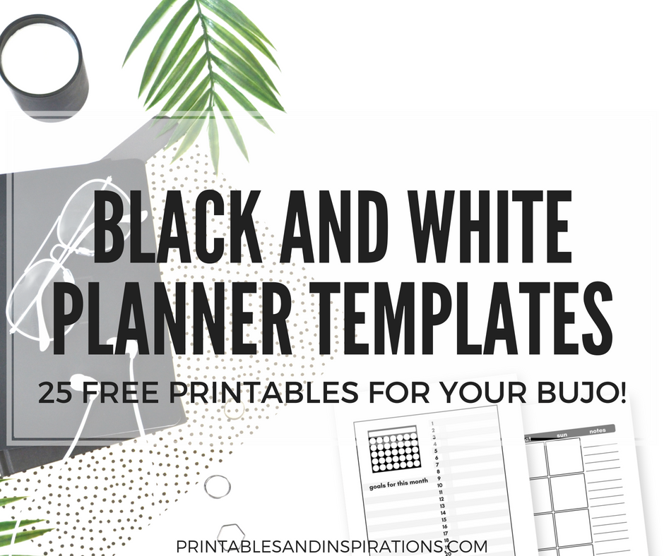 free bullet journal printables black and white templates