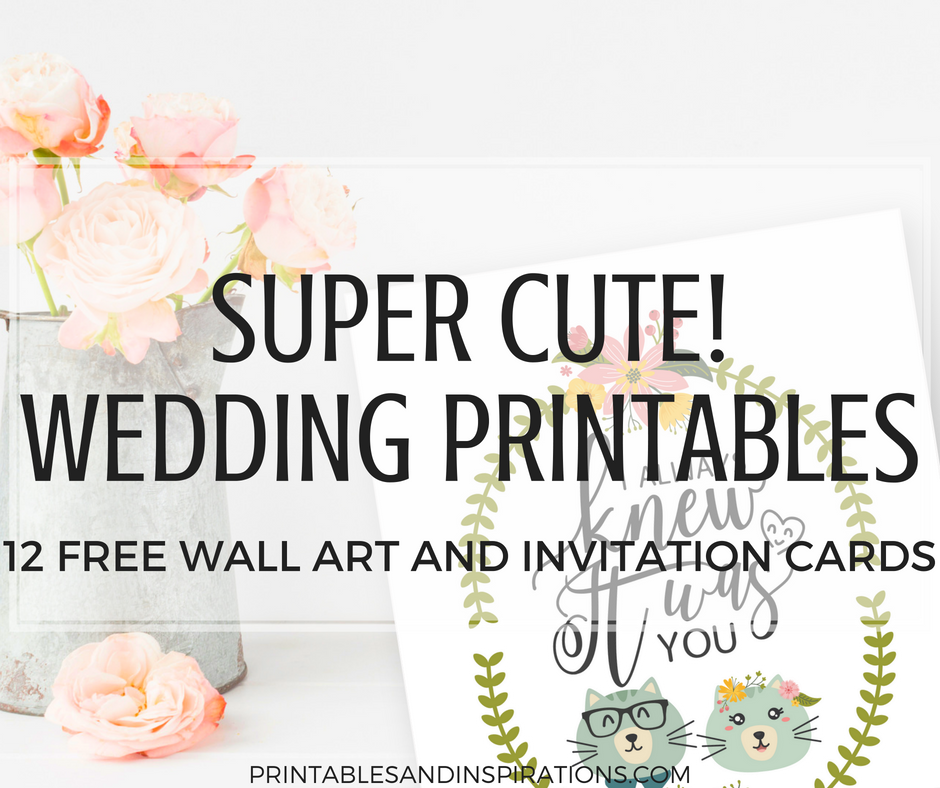DIY Simple Wedding Invitation Cards And Decorations (Free Printable!) Cute and funny wedding printable cards and wall art with animal couples. #DIY #freeprintable #weddingideas