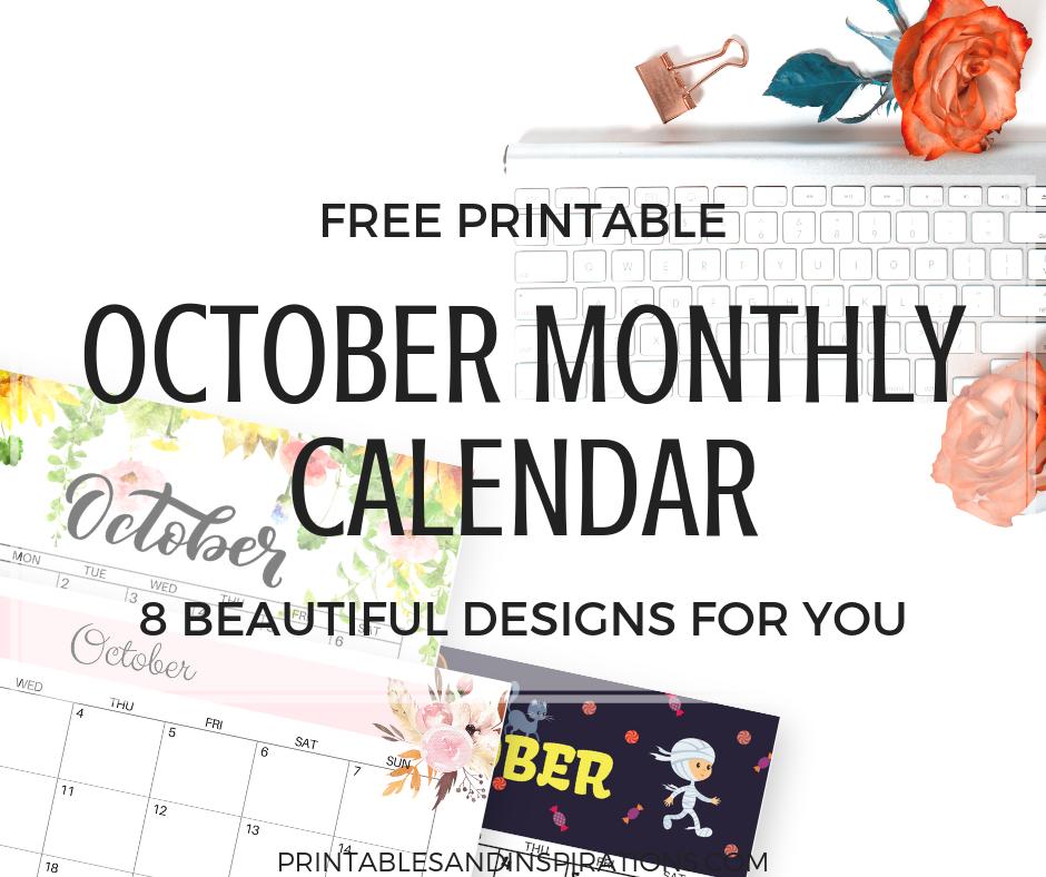 Calener October: October Calendar 2018 FREE Printable!