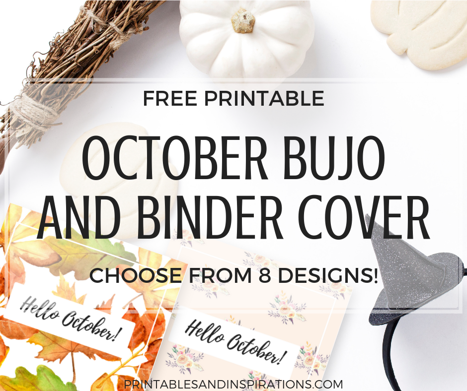 October Bullet Journal Cover Ideas And Binder Cover - FREE Printable! Autumn, Halloween and Floral themes. #freeprintable #bulletjournal