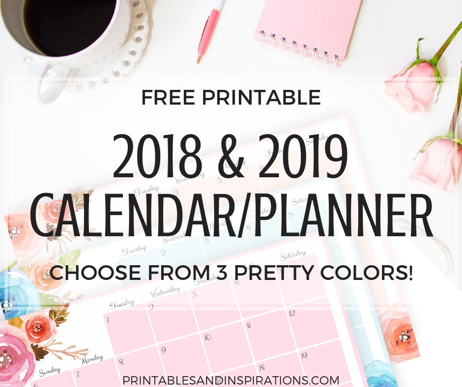 2018 calendar, free printables planner, 2018 horizontal calendar, monthly planner printables, monthly spread, Monday to Sunday weekly planner, floral design
