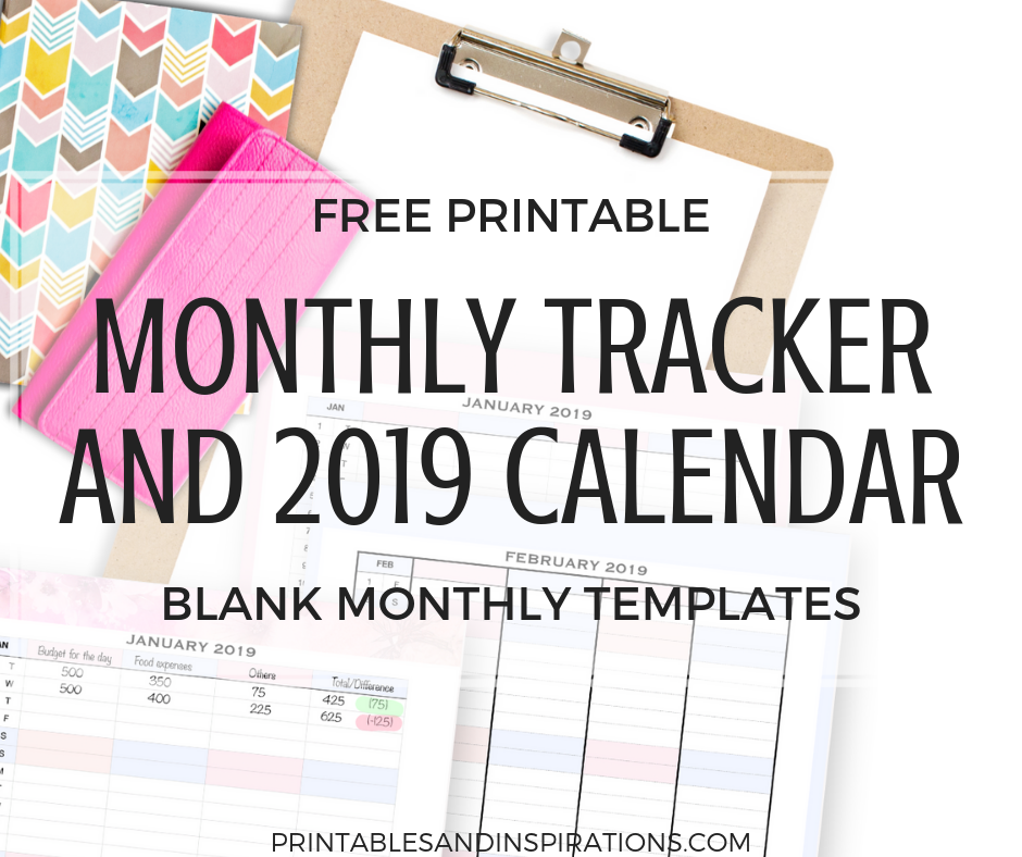 free 2019 printable monthly tracker template calendar printables