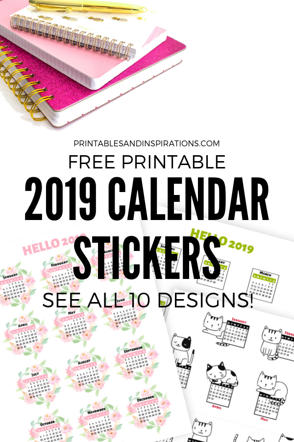 graphic relating to Free Printable Stickers for Planners titled No cost 2019 Calendar Stickers For Bullet Magazine And Planner