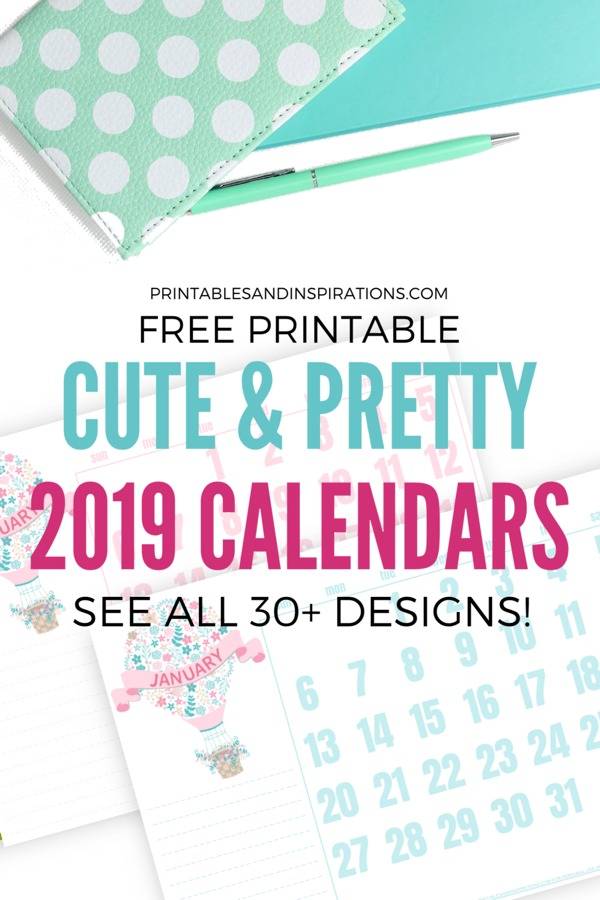 graphic about Cute Printable Calendars named Totally free Lovely Calendars For 2019! (30+ Strategies) - Printables and