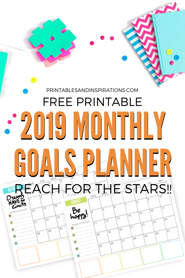 Free 2019 Monthly Goals Calendar Printable Printables And