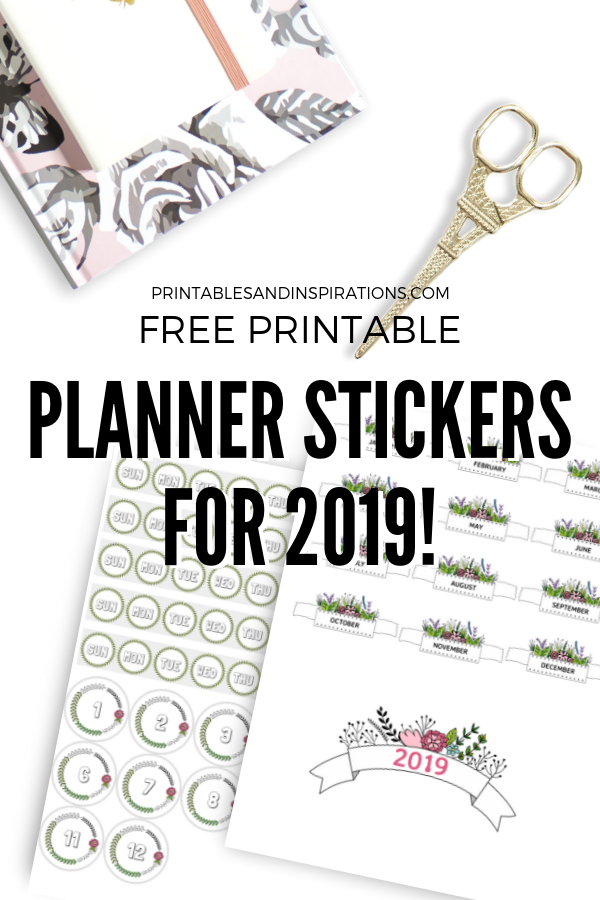graphic regarding Free Printable Stickers known as 2019 Cost-free Printable Planner Stickers And Calendars