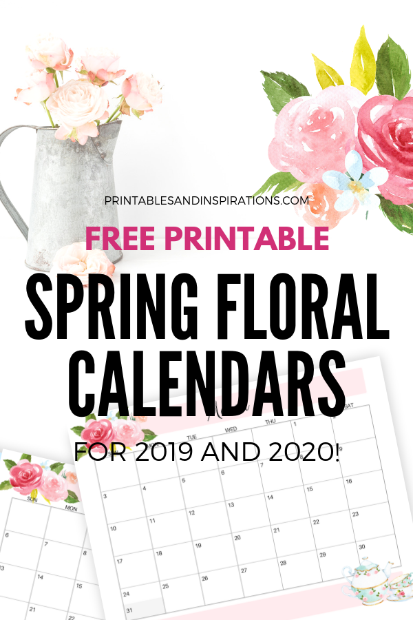 Free Printable Floral Calendar / Planners For 2019 - 2020