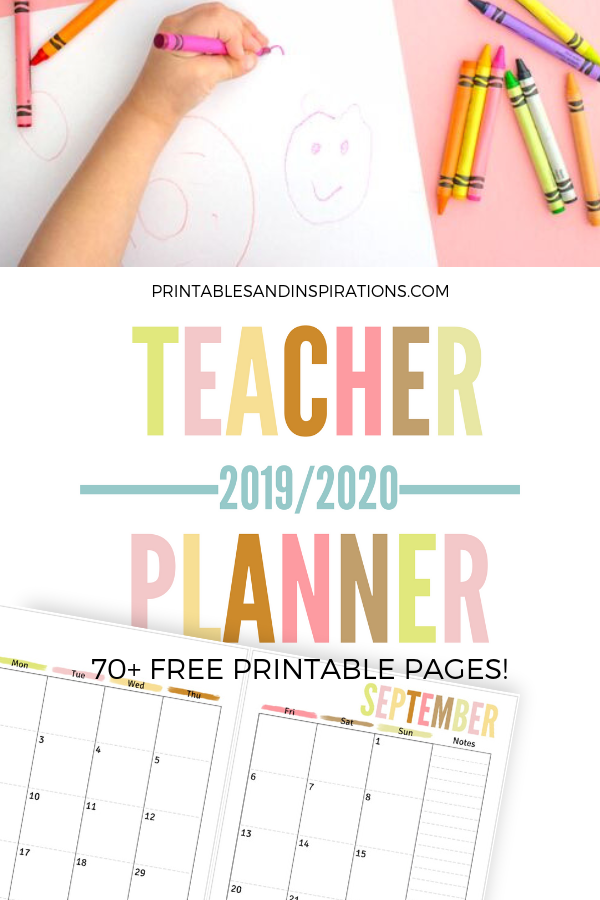 photo about Free Printable Calendars for Teachers named No cost Instructor Planner Printable 2019 - 2020 - Printables and