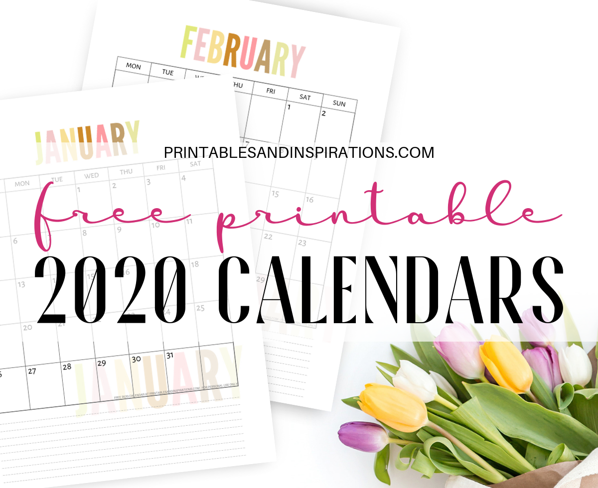 Print Monthly Calendar 2020 Free 2020 Calendar Printable Planner PDF   Printables and Inspirations