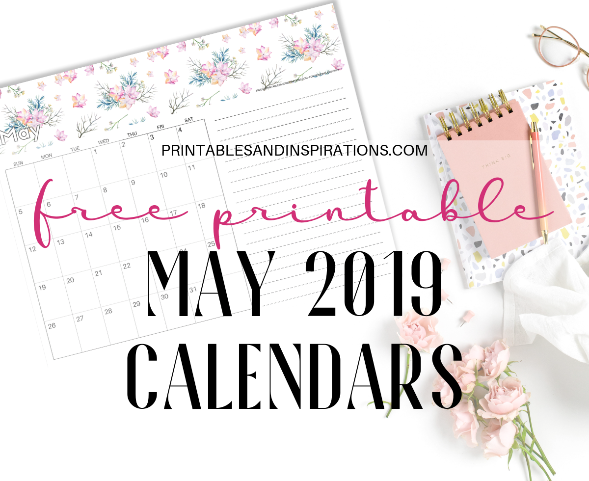 graphic relating to Cute Monthly Calendar Printable identified as Totally free Printable Could possibly 2019 Calendar - 10+ Plans! - Printables
