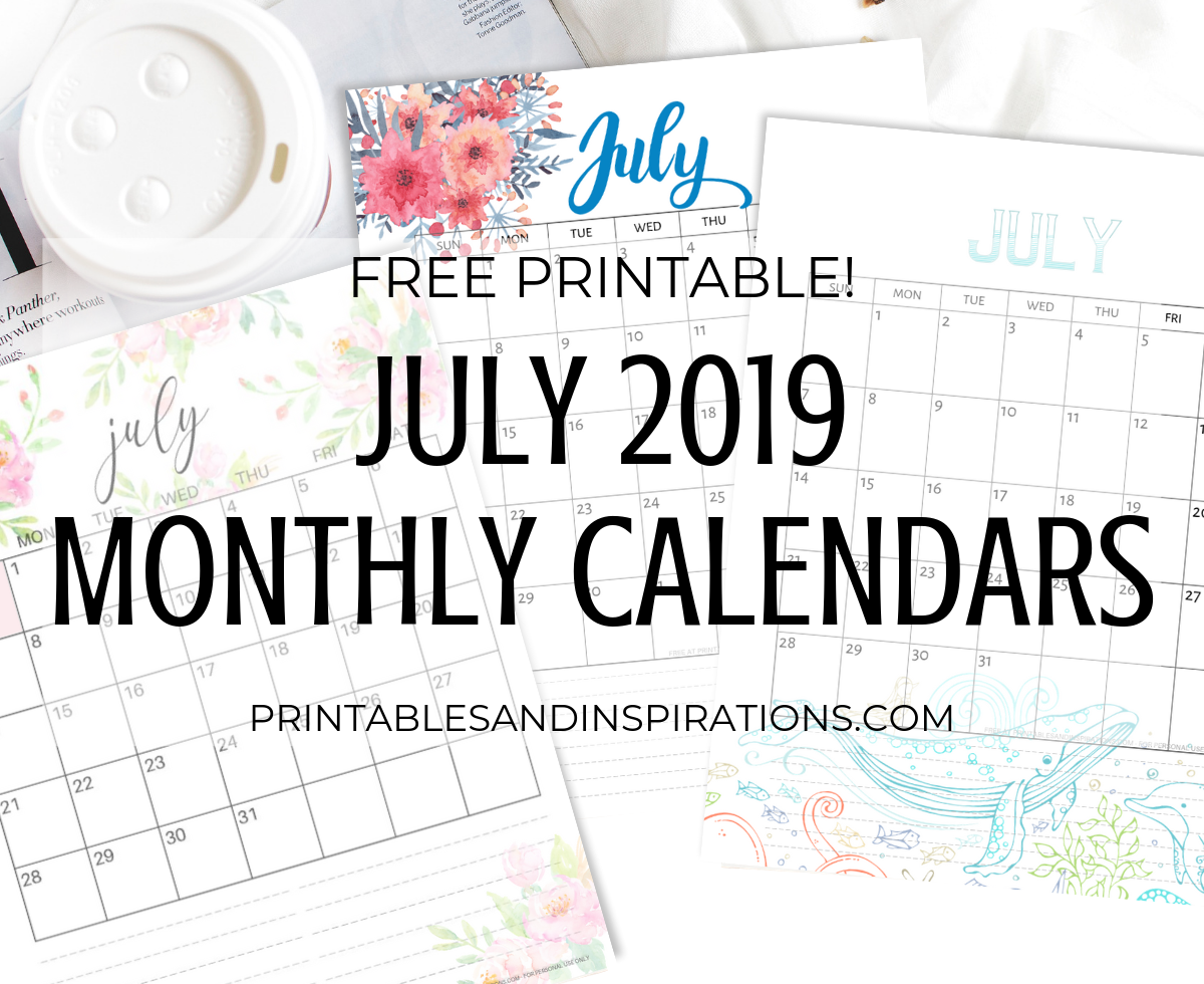 image regarding Free Printable July Calendar named July 2019 Calendar - Absolutely free Printable! - Printables and