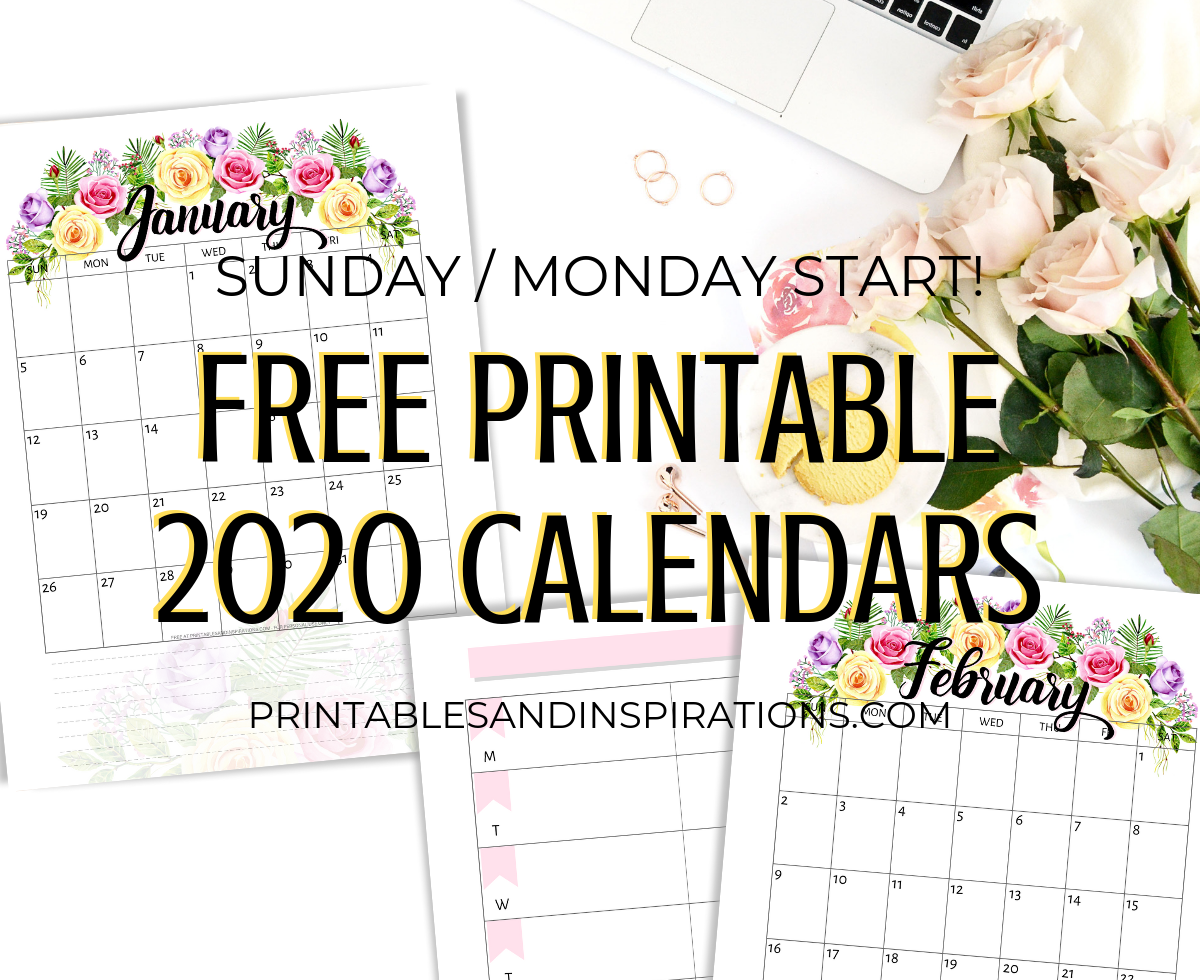 graphic about Free Printable 2020 Calendar identify Totally free Printable 2020 Calendar With Bouquets - Printables and