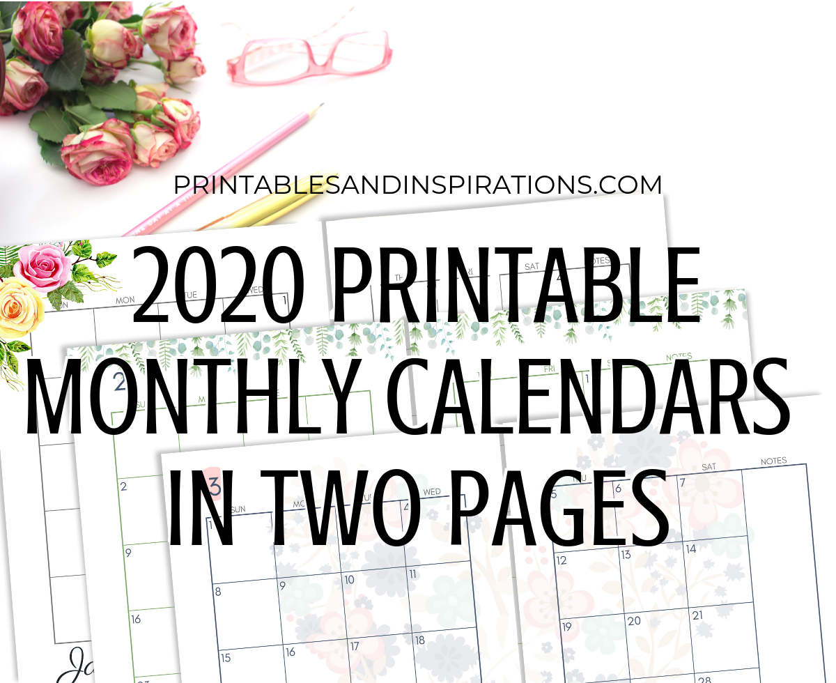2020 Monthly Calendar Two Page Spread