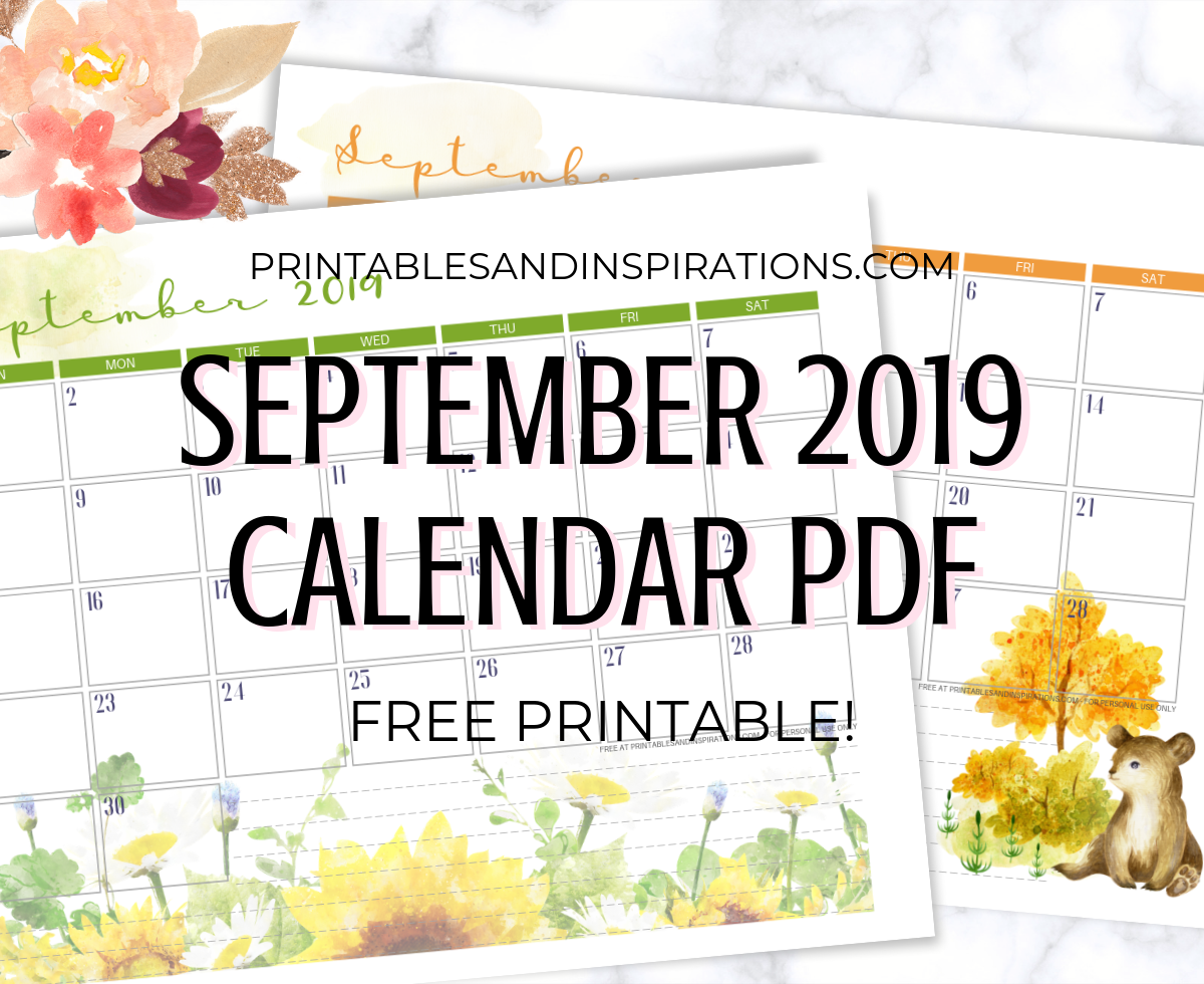 graphic about Pretty Calendars identified as September 2019 Calendar - Free of charge Printable! - Printables and