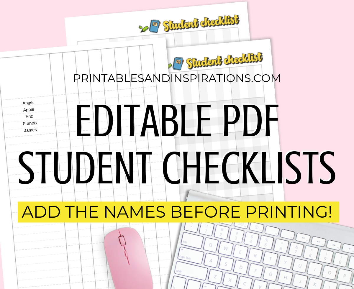 Free Editable Student Checklist Printable PDF for your teacher planner printable - type your students' names on the PDF file before printing. Get your free download now! #freeprintable #teacherplanner #backtoschool #printablesandinspirations