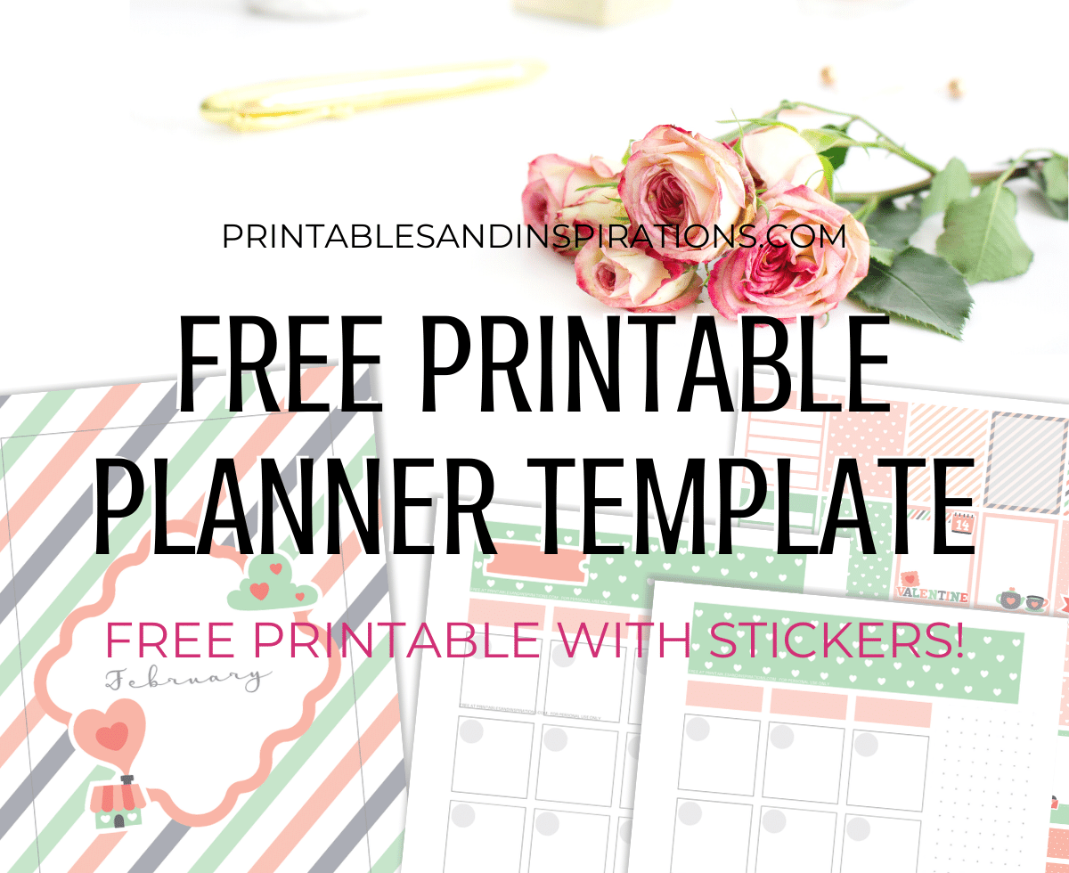 Free Printable Planner Template February 2020 - valentine bullet journal printable template with dot grid, free printable planner, bullet journal printable, printable planner stickers #freeprintable #printablesandinspirations #bulletjournal #planneraddict #plannerstickers #bujoideas