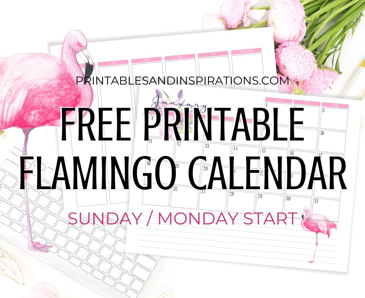 Free Pink Flamingo Calendar Printable And Weekly Planner - #flamingo #freeprintable #pink #printablesandinspirations